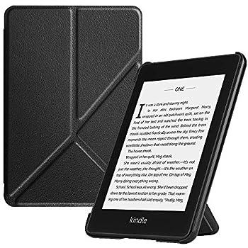 Fintie Origami Funda para Kindle Paperwhite (10.ª generación, 2018) - Carcasa de Cuero Sintético Función de Soporte y Auto-Reposo/Activación, Negro
