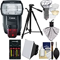 Canon Speedlite 600EX II-RT Flash with Batteries & Charger + Tripod + Soft Box + Diffuser Bouncer + Kit