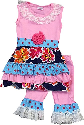 Big Girl Kids Floral Lace Holiday Tunic Dress Ruffle Capri Set Pink 7 2XL 700169