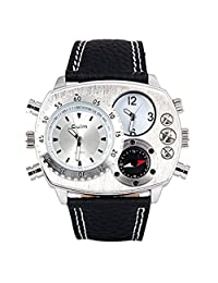Oulm Cool Men Quartz Watch Dual Analog Elliptical Dial and Genuine Leather Watch Band with a Compass and a Thermometer - Sliver