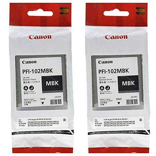 Ink Tank Matte - Canon 2X PFI-102MBK Pigment Matte Black Ink Tank for The imagePROGRAF iPF500/600/700 Inkjet Printers, 130 ml.