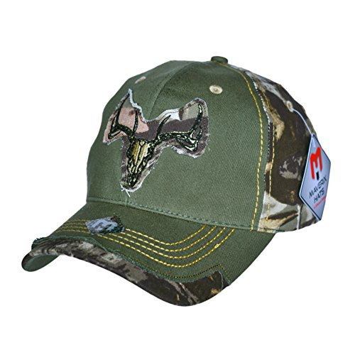 Structured Cotton Twill Baseball Cap (Camouflage Deer Skull Hunter Hat - Strapback Hat Cool Baseball Hats Camouflage Cap Camo Hat for Women Camoflauge Kids Camo Hat Low Rise Cool Camoflage Adjustable Mens Classic)