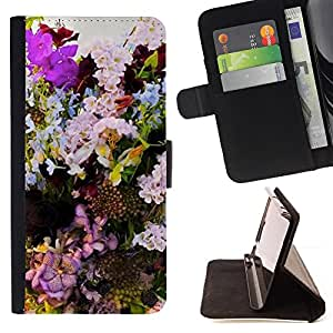DECORATION COLORFUL FLOWER COMPOSITION/ Personalizada del estilo del dise???¡Ào de la PU Caso de encargo del cuero del tir????n del soporte d - Cao - For HTC One M8