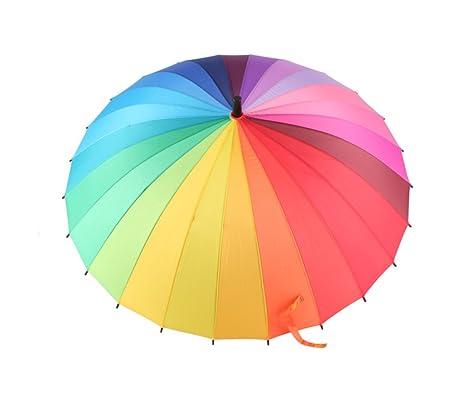 Rainbow Vintage Windproof Long handle Sun protection Rain Adult Easy to carry foldable Windproof Rainproof umbre HCJYS JCRNJSB Umbrella