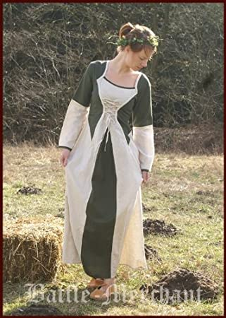 Medieval Dress-Green Natural-LARP Dress Elena Cotton Linen Size S M ...
