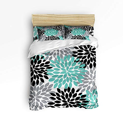 Cloud Dream Home 4 Piece Bedding Set, Dahlia Black Gray Blue Peony Flowers Duvet Cover Set Quilt Bedspread for Childrens/Kids/Teens/Adults Queen Size(Large)