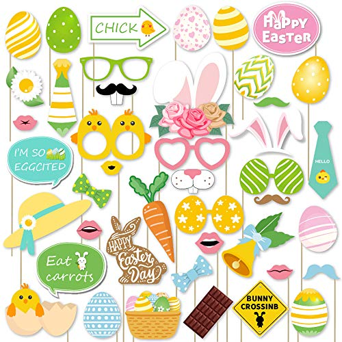 Supla 43 Pack Easter Party Photo Booth Props Kit Spring Photo Props Set for Easter Egg Hunt Bunny & Baby Chick Party Accessories Easter Decorations]()