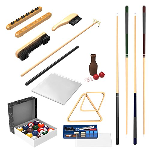 Pool Table Accessory 32 Piece Kit- Billiards Balls, Cues, Stick Repair, Roman Rack, Table Brush, Table Cover, Tally Bottle by Trademark Gameroom ()