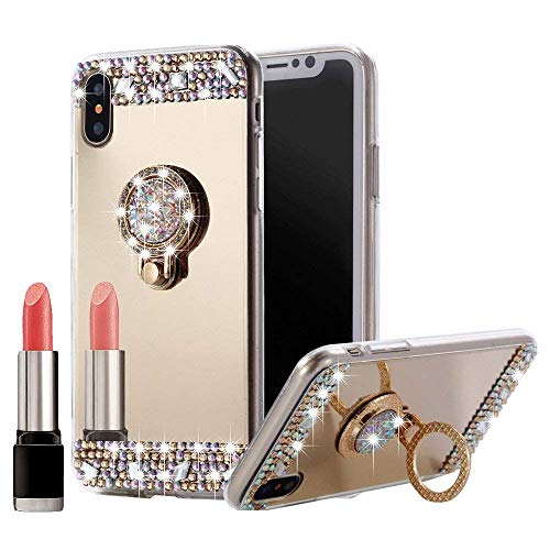 iPhone XS Max Case Bling, Awsaccy(TM) Sparkly Slim TPU Mirror Makeup Bling Rhinestone Diamond Back Case Cover with Detachable 360 Degree Ring Holder Stand for Apple iPhone XS Max 6.5 inch 2018 Gold