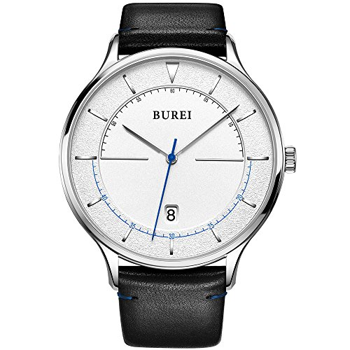 (BUREI Unisex Thin Minimalist Wrist Watches with Large White Face Calendar Mineral Glass Leather Band)
