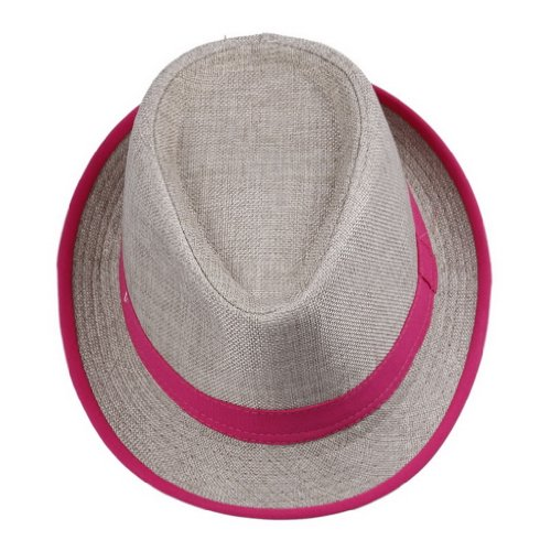 (Bigood Women Rose Neon Strip Straw Boho Fedora Beach Panama Hat)