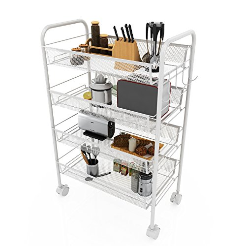 Mesh Wire Rolling Storage Cart Rack for Easy moving Organization Kitchen Net Basket with Wheels and Portable Metal Handle ( 4-Tier)