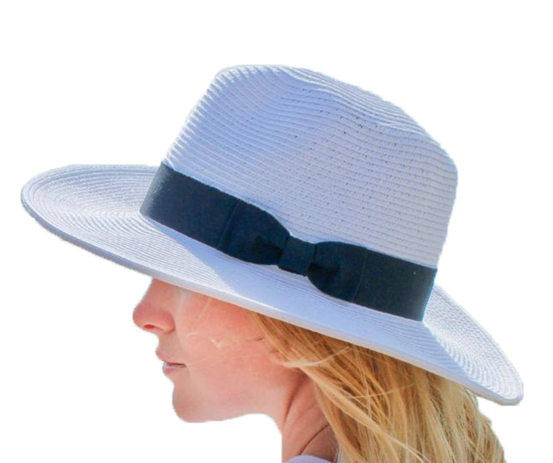 Stevie Fedora Wide Brim Straw Hat for Women Packable UPF 50 Sun Protection (XX-Large, White)