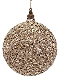 """6"""" Toffee Brown Sand Glittered and Beaded Christmas Ball Ornament"""