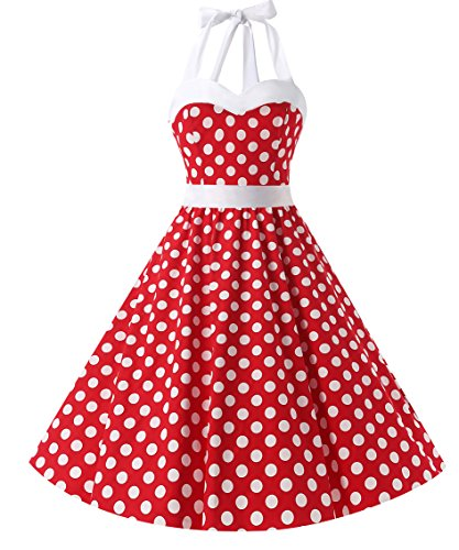 Dresstells Vintage 1950s Rockabilly Polka Dots Audrey Dress Retro Cocktail Dress White Dot L