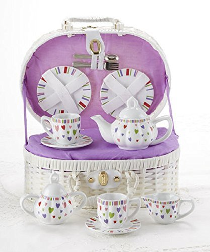Porcelain Tea Set in Basket, Multi-Heart
