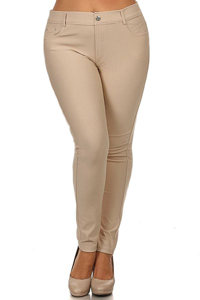 Yelete Womens Basic Five Pocket Stretch Jegging Tights Pants, Camel, Large