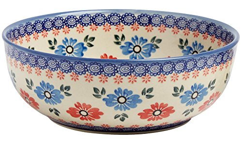 """Polish Pottery Blue and Red Floral Large Mixing Bowl, Handmade Ceramic, 8.25""""L x 8.25""""W x 3""""H (42-Ounce Capacity)"""