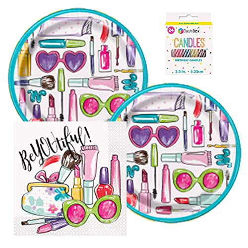Themes For Little Girl Birthday Parties (BashBox BeYOUtiful Spa Makeup Birthday Party Supplies Pack Including Plates and Napkins for 16)