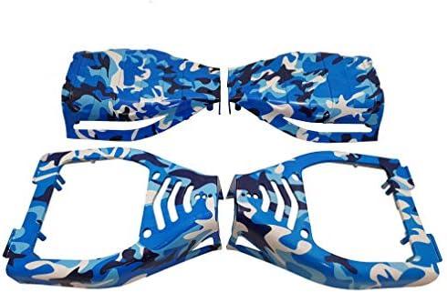 SmartBoardsUK Coques de Protection pour Hoverboard Tout Terrain avec Roues de 21,5 cm - Plastique - pour Hoverboard/gyropode à 2 Roues - Camouflage Bleu
