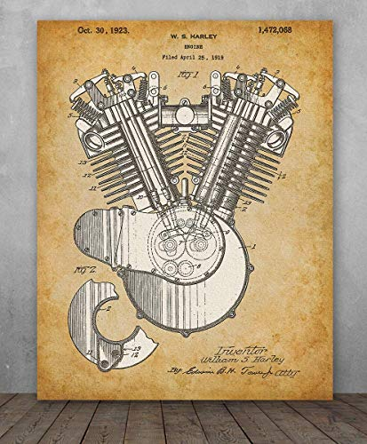 Poster - Harley Engine Patent Patent - Choose Unframed Poster or Canvas - Makes a Great Gift for Hog Riders