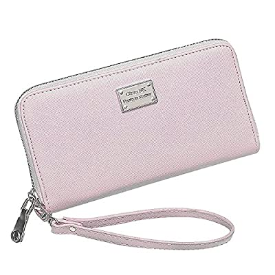 Eurlove Women PU Leather Wallet, Multifunctional Zipper Clutch Purse with Large Space for Money, Cards and Phone