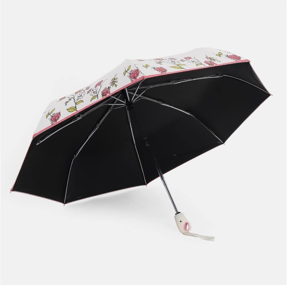 Rose Automatic Folding Umbrella Red Cherry Rose flower-Give you a wave of sweet dating
