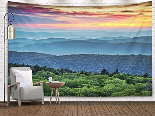 Large Tapestry Wall Hanging,Tooperue Dormitory Tapestry Room Decoration Outdoor 60X50 Inch Blue Ridge Parkway Scenic Landscape Mountains Sunset Layers Over Art Tapestry Beach Blanket Camping Tapestry (Blue Ridge Parkway Best Time Of Year)