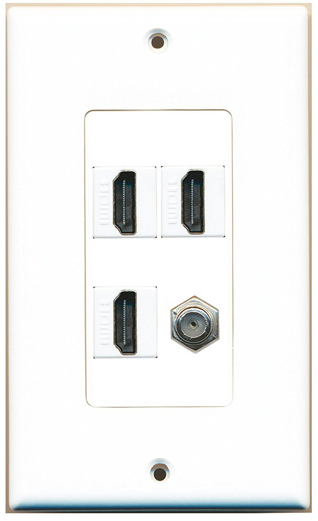 RiteAV - 3 x HDMI and 1 x Coax Cable TV F Type Port Wall Plate Decorative - White