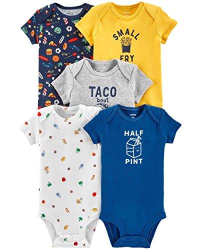 Carter's Baby Boys 5 Pack Bodysuit Set, Food, 9 Months -