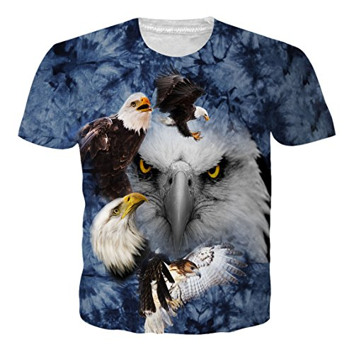 RAISEVERN Unisex Retro Short Sleeve Vintage Round Neck Eagles 3D Print Personality Tees T Shirt L