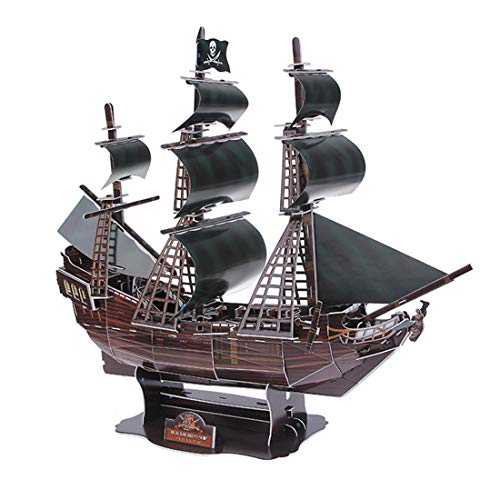 - Haoun 3D DIY Jigsaw Puzzle Pirate Ship Model Sailing Boat Model Toy Handicraft for Kids Adult- The Black Pearl