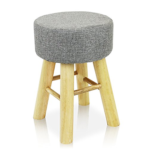 Jerry & Maggie - Footstool Fabric Ottomans Bench Seat Foot Rest Step Stool with Feet Protection Design | Round - Long 4 Legs - Light Grey
