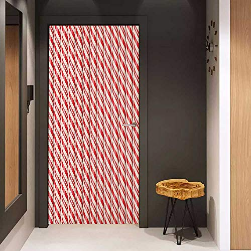 - Onefzc Automatic Door Sticker Candy Cane Red Christmas Candies Pattern with Diagonal Stripes Traditional Winter Sweets Easy-to-Clean, Durable W17.1 x H78.7 Red Cream