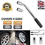 dicn Telescopic Lug Wrench Extendable Wheel Brace with 17mm 19mm 21mm 23mm Standard Sockets for Car Van Truck Spare Tyre Breakdown Emergency Tools