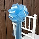 "Baby Blue Tulle Wedding Pew Pull Bows - 9"" Wide, Set of 6"