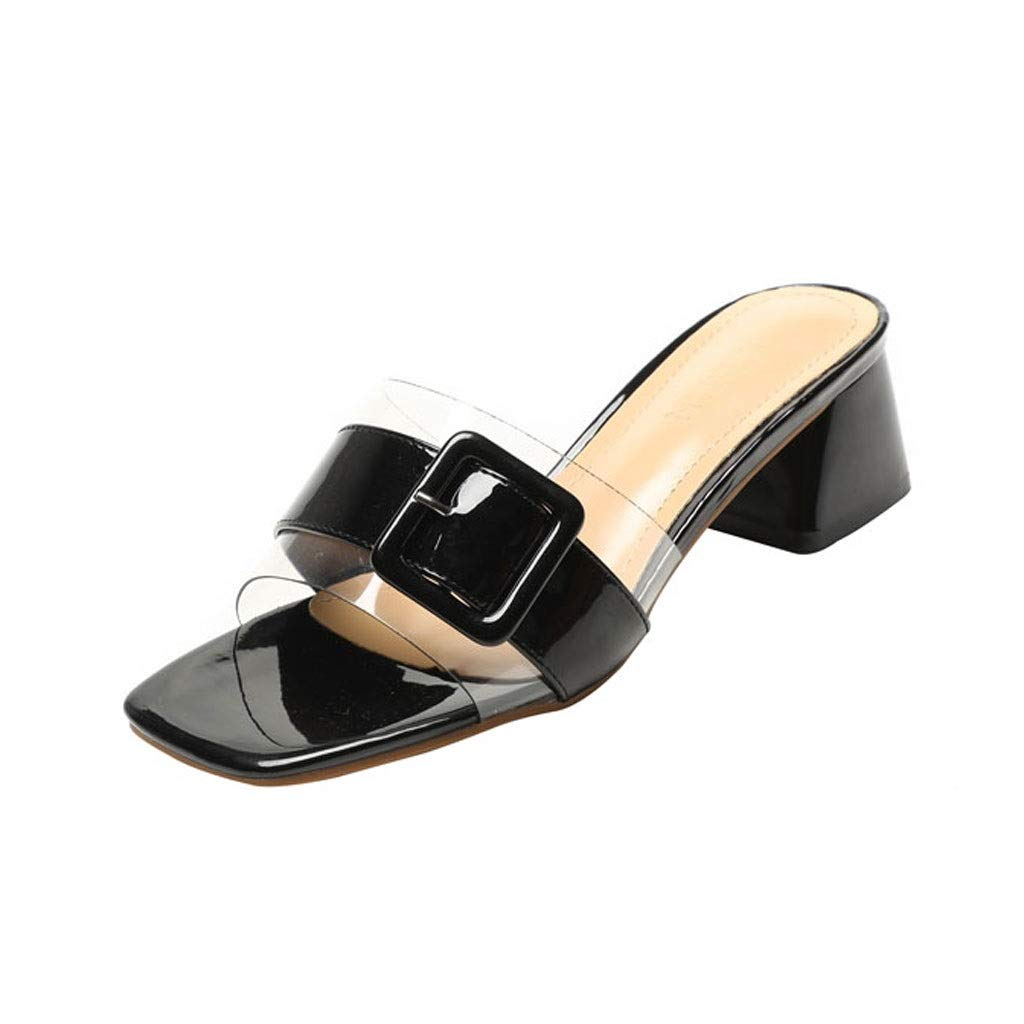 Black Ailj Summer Women's Fashion Sandals, Transparent Plastic Thick Sandals and Slippers Non-Slip One-Word Drag 2 colors