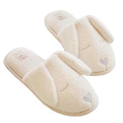 Blubi Women's White Dog Plush Closed Toe House Slippers Cute Bedroom Slippers