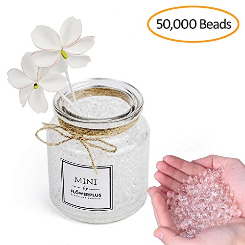 Fanlisi 50000pcs Clear Water Beads, Crystal Soil Water Bead Gel for Plants, Vase Filler for Wedding decor, Home decor and Party Decoration, Orbeez refill, Table Centerpiece ()