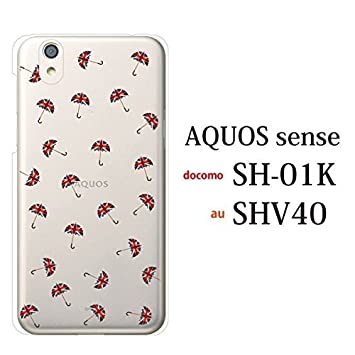 8728c29456 AQUOS sense SH-01K SHV40 ケース カバー ユニオンジャック アンブレラ 傘 (クリア) アクオス