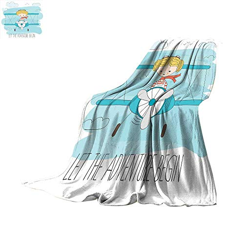 Adventure Warm Microfiber All Season Blanket Cute Girl Flying a Plane on Sky Cartoon Child Dream Imagination Print Image Thicken Blanket 60 x 50 inch Baby Blue Yellow Dark - Crimson Skies Planes