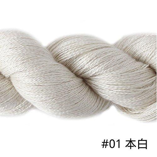 - Silky Cashmere Fingering Weight Yarn Hand Knitting/Crochet for Fashion Garments (01-White)