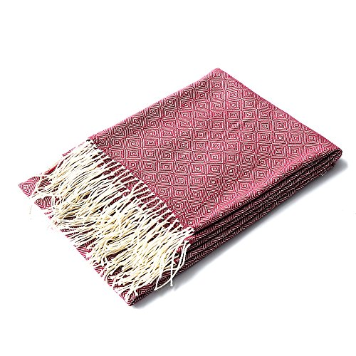 FELIX ANGELA HOME Red Throw Blanket,Lightweight Throw for Summer 100% Acrylic Ultra Soft Fringe Throw Blanket for Couch,Bed,Yoga,Beach,50 inch by 70 inch (Violet Red)