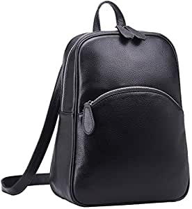 Heshe Women's Casual Leather Backpack Daypack for Ladies (Black)
