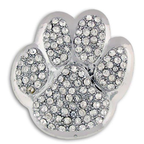 (PinMart Silver Rhinestone Animal Paw Print School Mascot Brooch)