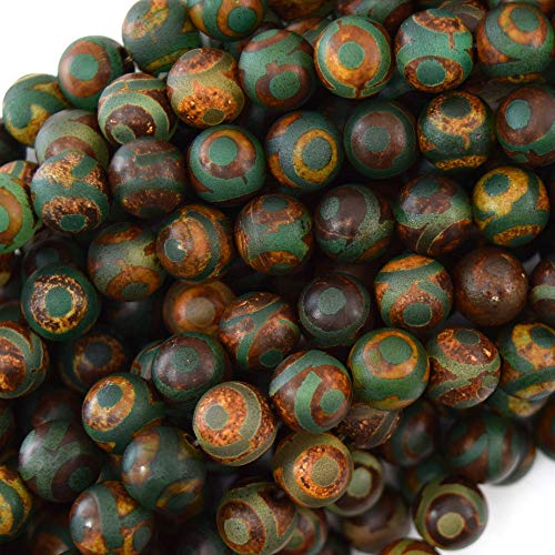 "Matte Green Brown Tibetan DZI Agate Round Beads 15"" Evil Eye 6mm 8mm 10mm 12mm (8mm)"