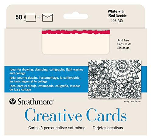 strathmore-blank-greeting-cards-with-envelopes-white-with-red-deckle-pack-of-50-362500