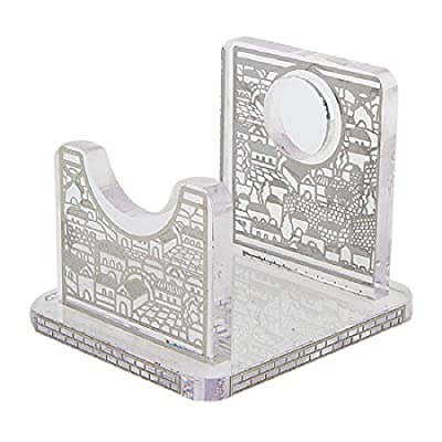 Lucite Shofar Stand with Laser Cut Jerusalem Design, Fits all Regular Size Shofars
