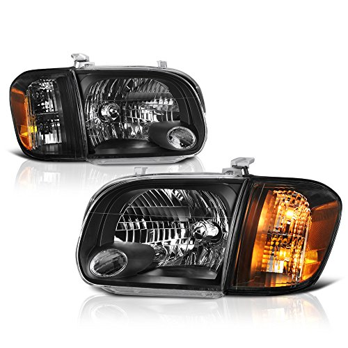 - VIPMOTOZ Black Housing OE-Style Headlight & Corner Side Marker Lamp Assembly For 2005-2006 Toyota Tundra 4-Door Cab Model & Sequoia, Driver & Passenger Side