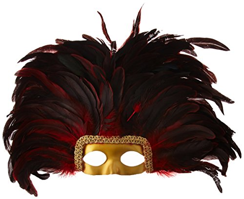 Large Carnival Costume Feather Headdress - Red Halloween Mask Cosplay Party Hair Accessory -